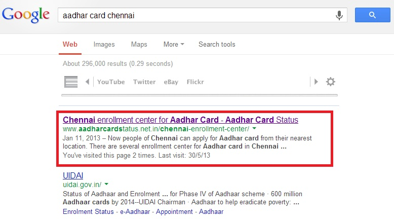 Google search for Aadhar card registration centres in Chennai