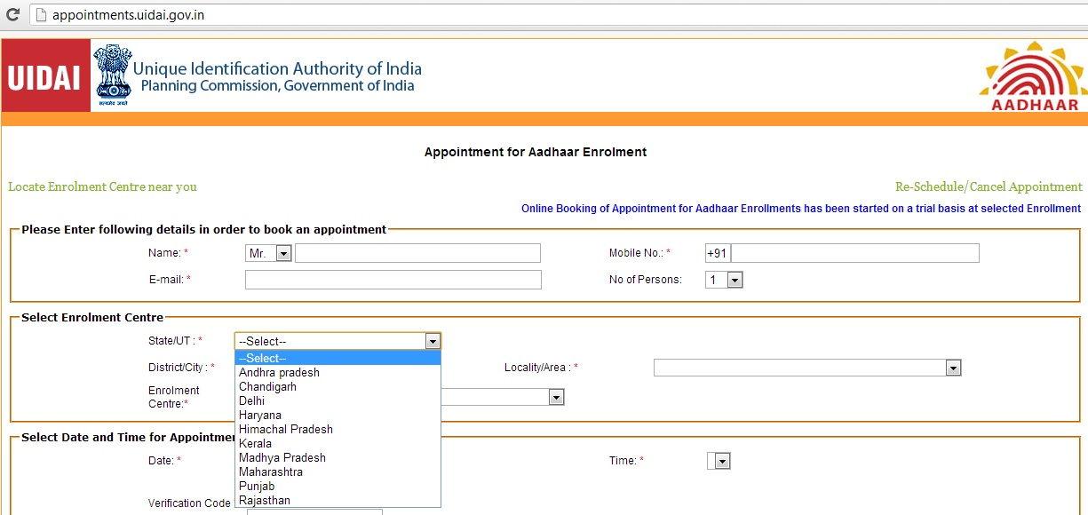 Online registration for Aadhaar card